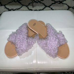 Ugg Australia real fur lilac Joni slides size 10